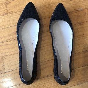 All Black Footwear Glitter Pointed Flats